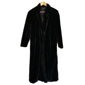 PRETTY LITTLE THINGS Black Faux Fur Long Coat